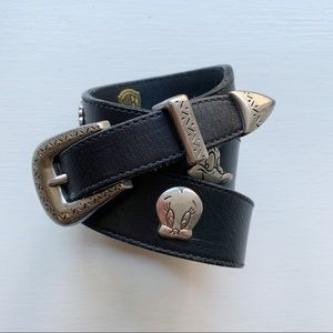 Vintage 90s 30 Looney Tunes Character Leather Belt
